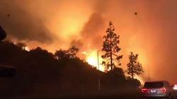 Los Angeles avvolta dalle fiamme. Le auto passano in mezzo all'incendio