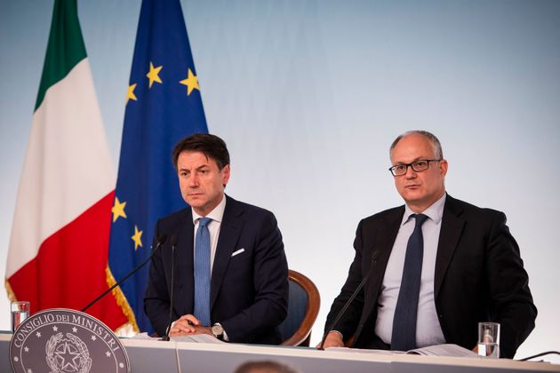 Italian Prime Minister Giuseppe Conte and Italian minister for Economy Roberto Gualtieri hold a press...