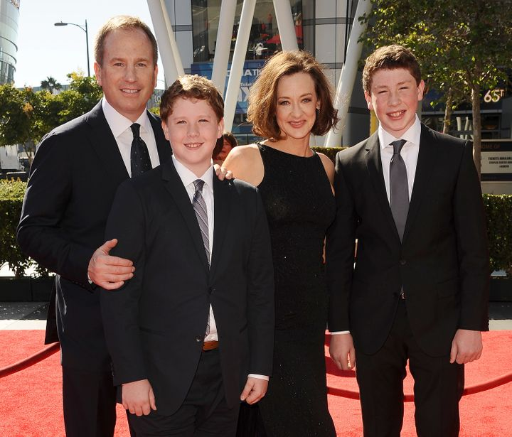 Joan Cusack and her family at the Creative Arts Emmy Awards on Sept. 15, 2013, in Los Angeles.