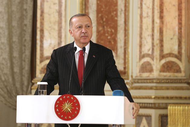 ISTANBUL, TURKEY - OCTOBER 11: Turkish President Recep Tayyip Erdogan speaks during the opening reception...