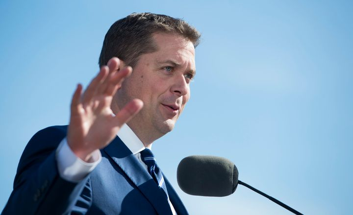 Conservative Party Leader Andrew Scheer addresses the media following the unveiling of his party's platform in Delta, B.C. Friday, October 11, 2019.