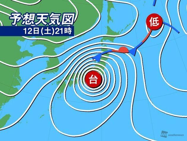 予想天気図 12日(金)9