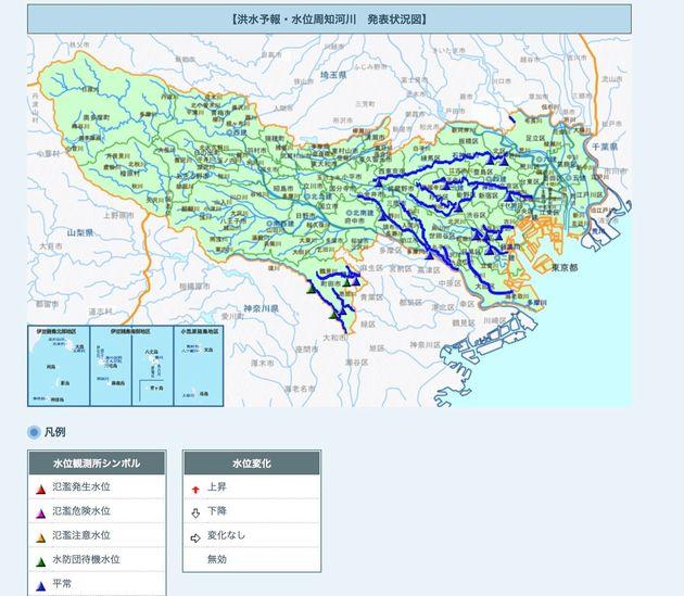 洪水予報・水位周知河川の発表状況(東京都・午前10時46分現在)