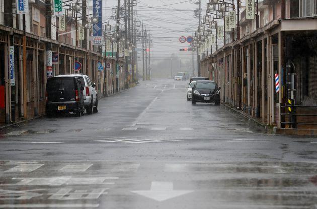 An empty road leading into Shiroko, Suzuka, Japan October 12, 2019, seen in heavy rain ahead of Typhoon...