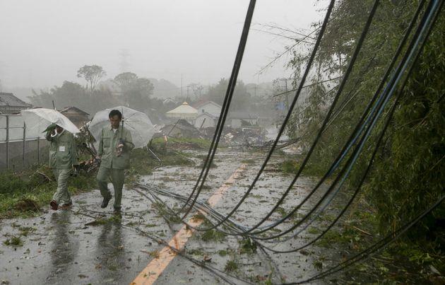 Le typhon Hagibis fait déjà un mort (photo prise le 12 octobre à Ichihara au