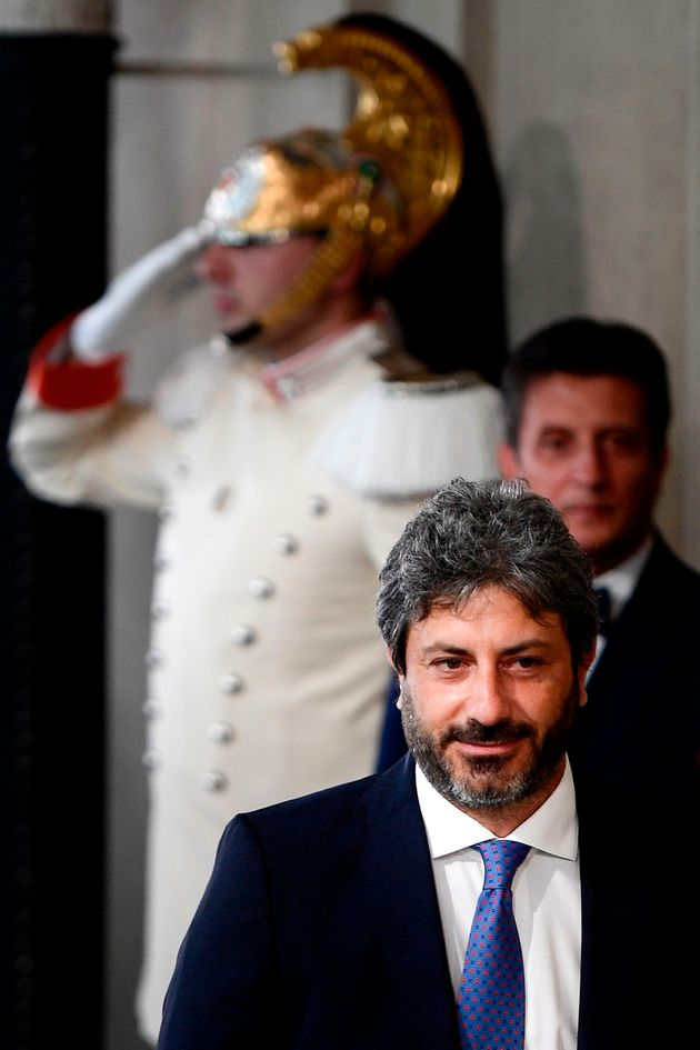 President of the Italian Chamber of Deputies, Roberto Fico leaves following a meeting with the Italian...