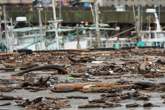 Sea wracks land at a port as Typhoon Hagibis approaches in town of Kiho, Mie prefecture, central Japan...