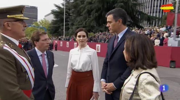 Pedro Sánchez, a su llegada al desfile del Día de la