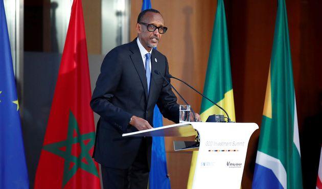 Paul Kagame, prononcant un discours lors de la