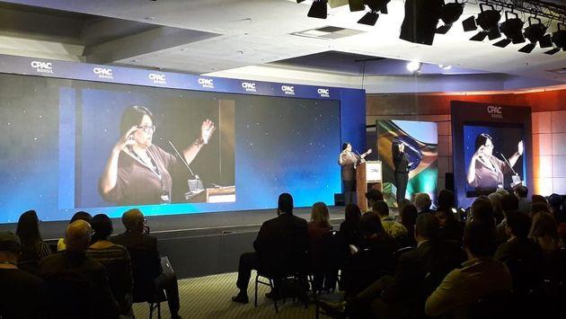 Ministra da Mulher, da Família e dos Direitos Humanos, Damares Alves, no CPAC