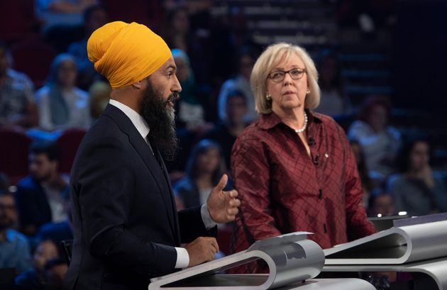 Jagmeet Singh and Elizabeth May at the federal leaders' French-language debate in Gatineau, Que. on Oct....