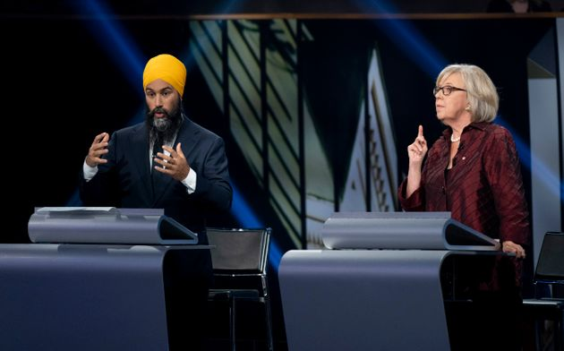 Jagmeet Singh and Green Party leader Elizabeth May during the federal leaders' French-language debate...