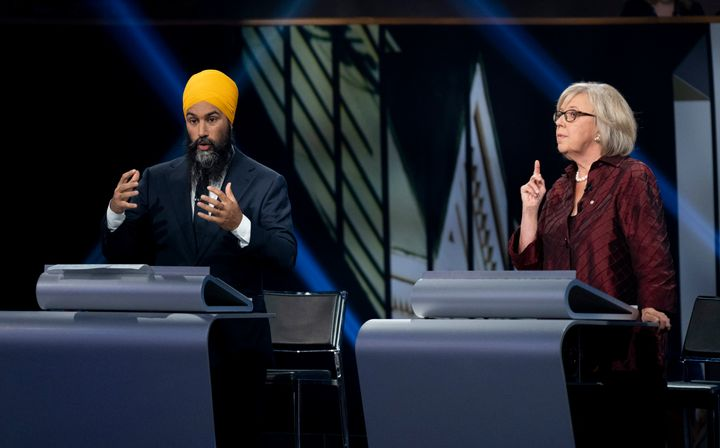 Jagmeet Singh and Green Party leader Elizabeth May during the federal leaders' French-language debate in Gatineau, Que. on Oct. 10, 2019.