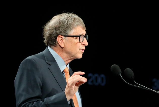 Philanthropist and Co-Chairman of the Bill & Melinda Gates Foundation Bill Gates gestures as he speaks...