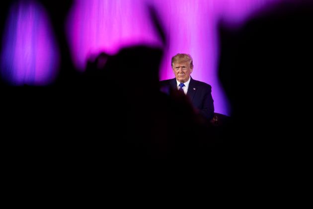 The crowd applaud as President Donald Trump concludes his speech at the Values Voter Summit in Washington,...