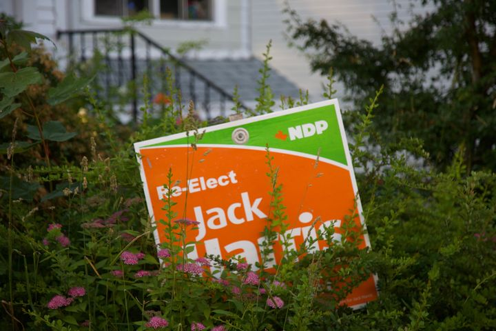 An old Jack Harris campaign sign is pictured in a flower bed outside a house in St. John's.
