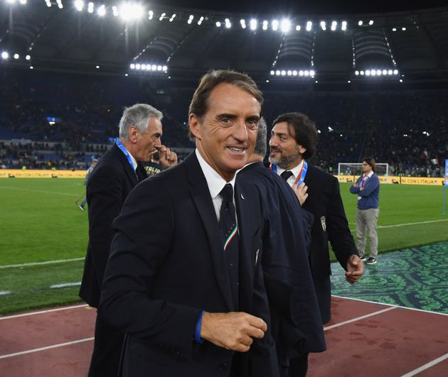 ROME, ITALY - OCTOBER 12: Head coach Italy Roberto Mancini celebrates at the end of the UEFA Euro 2020...