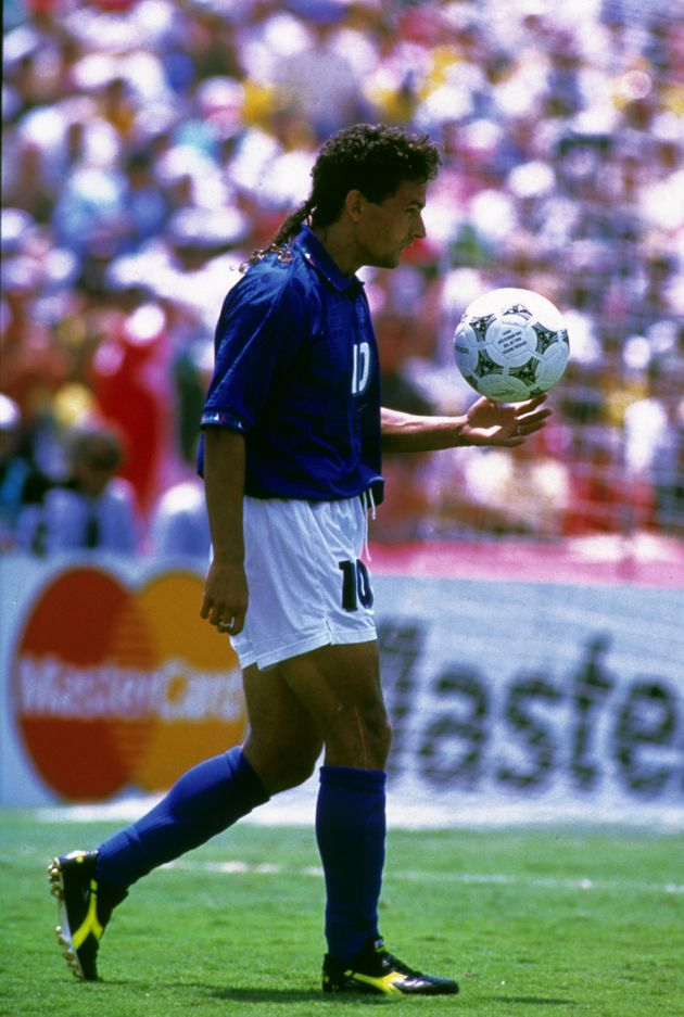 Roberto Baggio steps up to take a penalty (Photo by Peter Robinson - PA Images via Getty