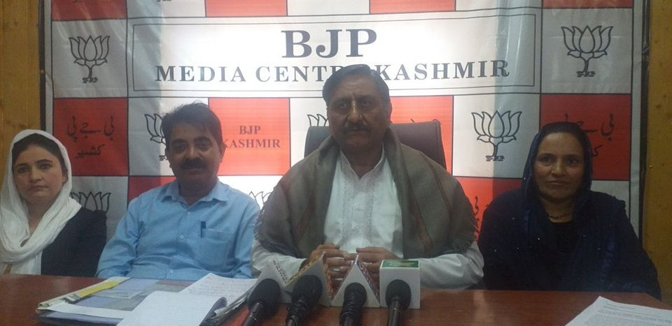 Ashwani Kumar Chrungoo, BJP state spokesperson on Kashmir Affairs, addresses a press conference. He said...