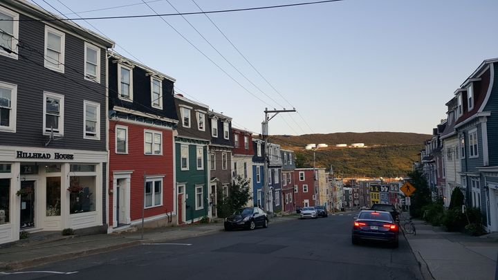 A residential area of St. John's looking down towards the harbour.