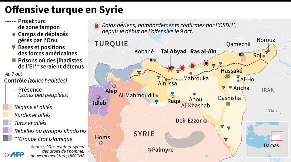 Offensive de la Turquie en Syrie: cette carte résume les quatre enjeux