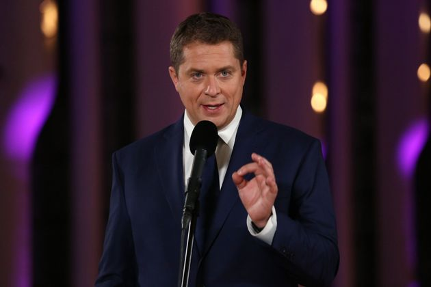 Andrew Scheer speaks during the federal leaders' French-language debate at the Canadian Museum of History...