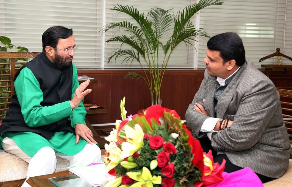 File photo of a meeting between environment minister Prakash Javadekar and Maharashtra Chief Minister...