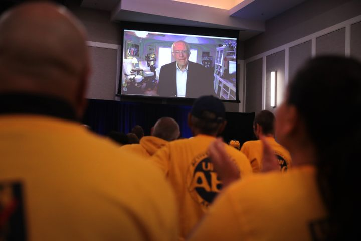 Sanders spoke to the UFCW gathering via Skype.