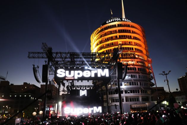 LOS ANGELES, CALIFORNIA - OCTOBER 05: General view of atmosphere during SuperM Live From Capitol Records...