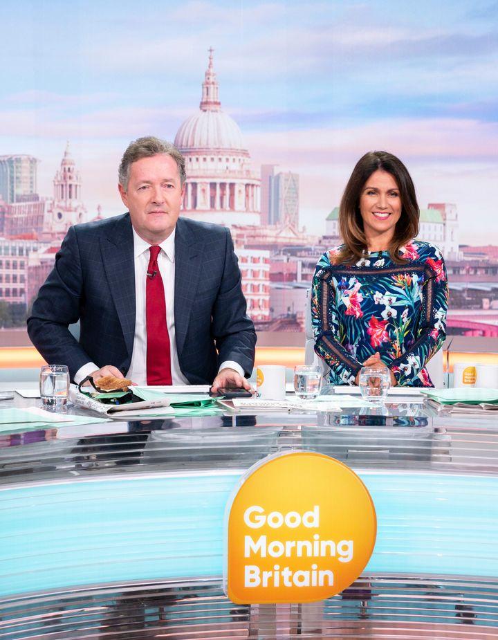 Piers Morgan with Susanna Reid on Good Morning Britain