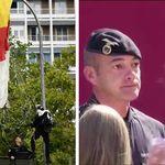 Il paracadutista sbatte contro il lampione e sfiora la famiglia reale spagnola. Letizia prova a