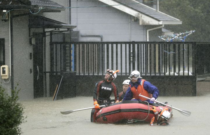 A residential area was flooded in Ise, Mie Prefecture, central Japan.