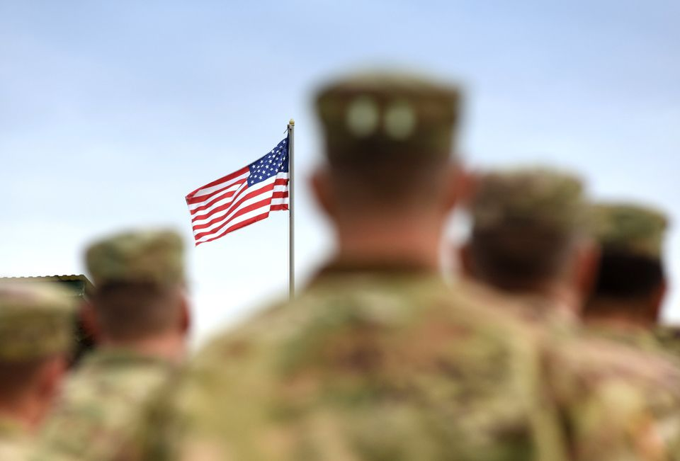 American Soldiers and US Flag. US