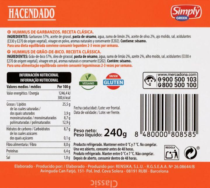 Etiqueta trasera del hummus de Mercadona.