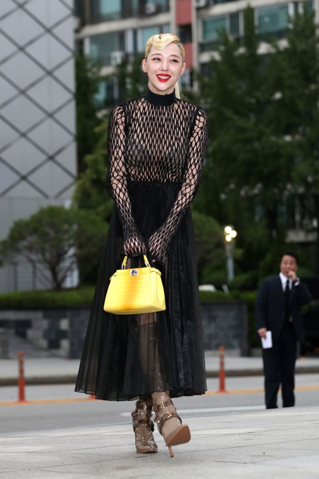 Former member of South Korean girl group f(x), Sulli, attends the photocall for FENDI on September 03,...