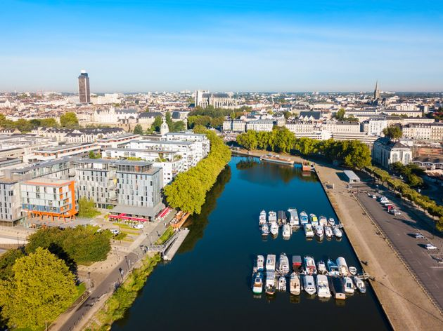 Boats and yachts on the Erdre river dock in Nantes city,