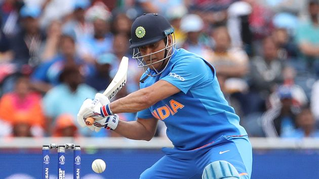 MS Dhoni bats during the Cricket World Cup semi-final