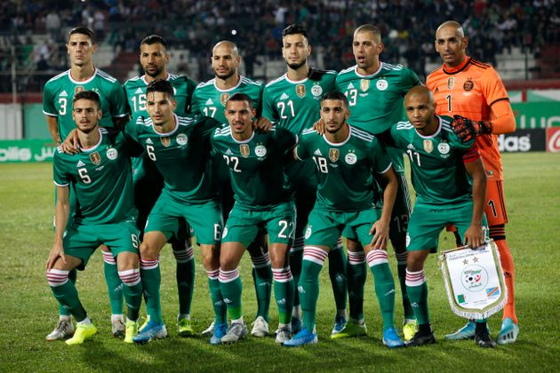 Algerian team before the friendly football match between Algeria and DR Congo, October 10, 2019, Mustapha...