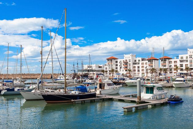 Boats at the Marina harbour in Agadir. Agadir is a major city in Morocco located on the shore of the...