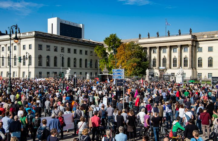 People participate in a demonstration against anti-Semitism at Bebelplatz square on October 13, 2019.