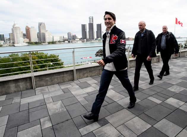 A view of the city of Detroit provides a backdrop as Liberal Leader Justin Trudeau leaves after speaking...