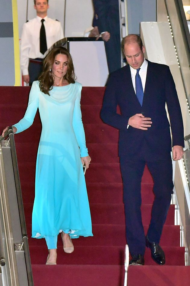 The Duke and Duchess of Cambridge arrive at Pakistani Air Force Base Nur Khan on Oct. 14 in Rawalpindi,...