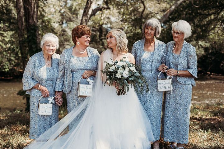 "The grandmas carried little flower petal baskets that said, ""Here comes the bride."""