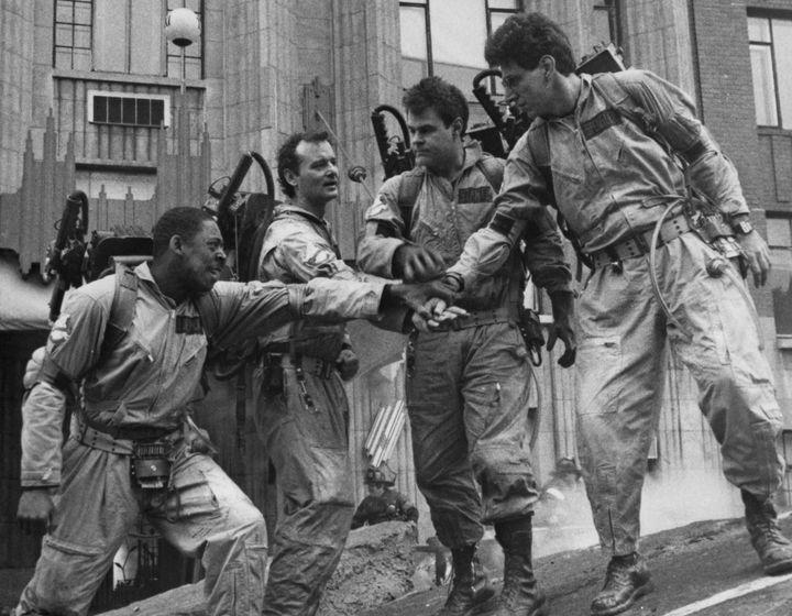 Left to right: Ernie Hudson, Bill Murray, Dan Aykroyd and Harold Ramis as paranormal investigators in Ivan Reitman's 1984 hit