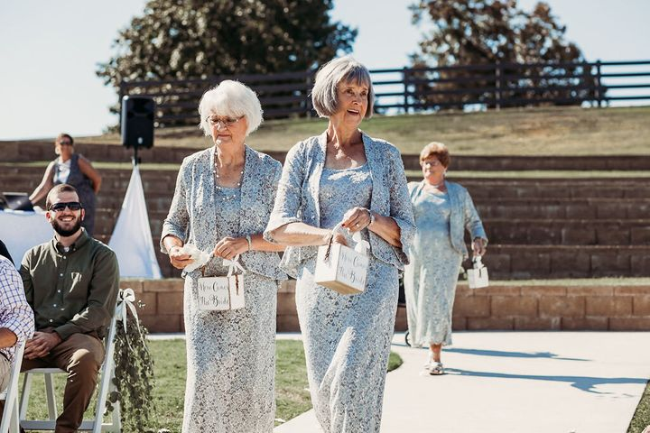 The bride's grandmas Wanda and Betty looked so lovely in their lace dresses.