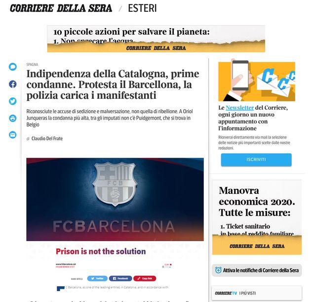 La noticia, en el 'Corriere della