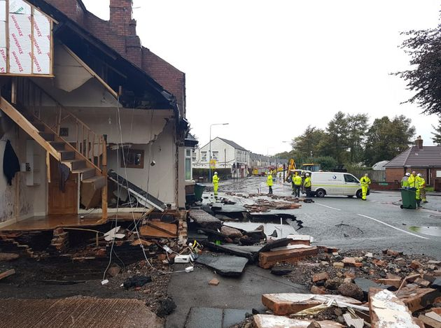 A Burst Water Main Has Just Destroyed A House In The West Midlands.