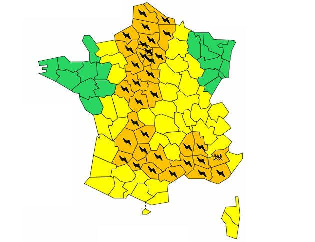 Météo France alerte toujours sur 37 départements en vigilance orange aux