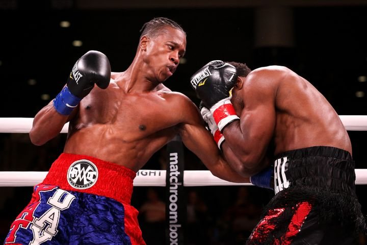Patrick Day, left, and Charles Conwell during a super welterweight title bout on Oct. 12.