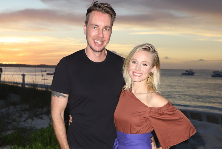 Dax . Shepard and Kristen Bell pose on vacation in Turks and Caicos in January 2018.